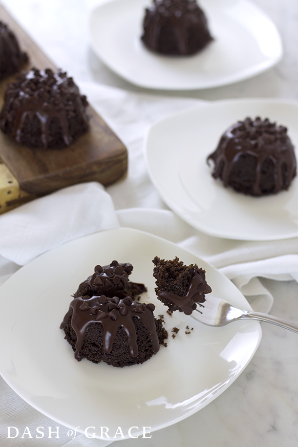 Triple Chocolate Mini Bundt Cakes Recipe