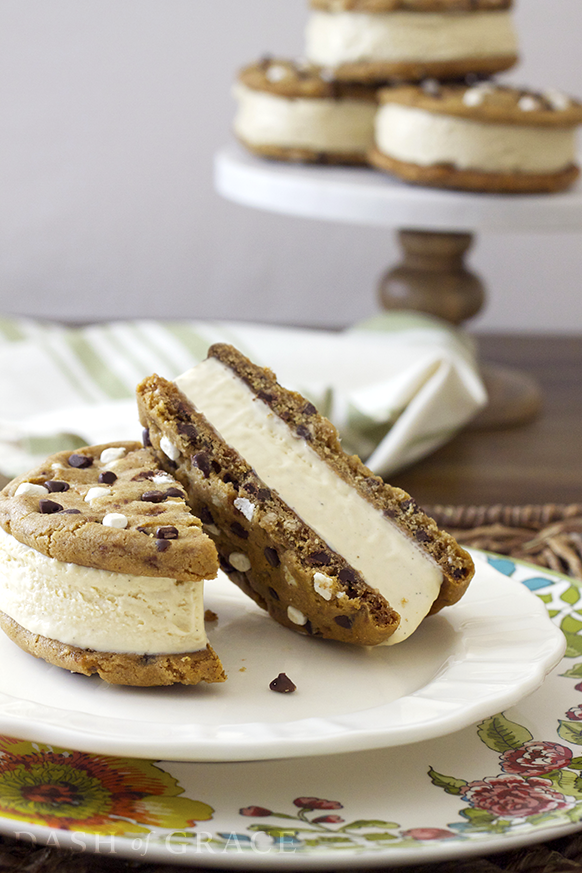 S'mores Ice Cream Sandwiches with Marshmallow Ice Cream
