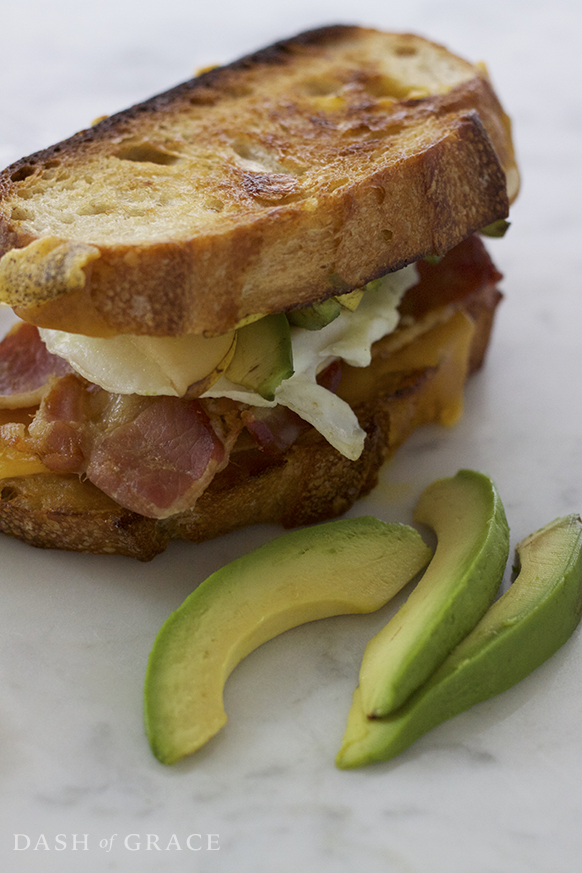 Honey Mustard Avo Pear Breakfast Grilled Cheese Recipe